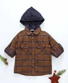 Rikidoos Checks Hooded Full Sleeves Shirt - Dark Brown