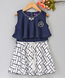 Enfance Core Necklace Embellished Sleeveless Dress - Blue
