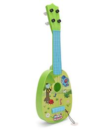 Musical Acoustic Guitar Lady Bug & Butterfly Design - Green