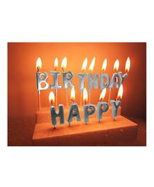 Party Anthem Happy Birthday Alphabets Glitter Candle Pack of 13 - Silver