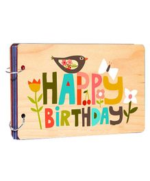 Studio Shubham Wooden Scrapbook Album Happy Birthday Print - Peach