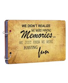 Studio Shubham Wooden Scrapbook Album Memories Print - Brown