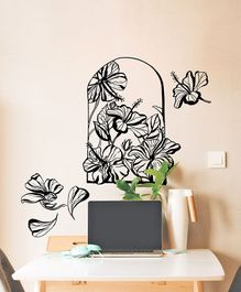 Asian Paints Wall Ons Nature Hibiscus Removable Wall Sticker Black - XL