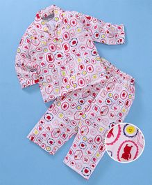 Enfance Core Animals & Birds Printed Night Suit Set - Red