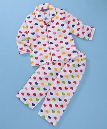 Enfance Core Heart Printed Full Sleeves Night Suit Set - White & Red