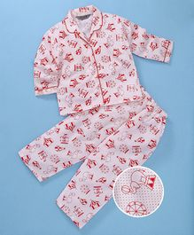 Enfance Core Parachute & Tent Printed Night Suit Set - Red