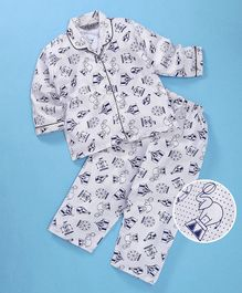 Enfance Core Parachute & Tent Printed Night Suit Set - Blue