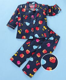 Enfance Core Strawberry Printed Night Suit - Blue