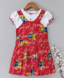 Enfance Core Printed Sleeveless Dress With Tee - Red