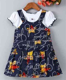 Enfance Core Printed Sleeveless Dress With Tee - Blue