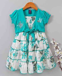 Enfance Core Printed Sleeveless Dress With Jacket - Sea Green