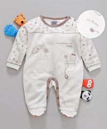 Mini Taurus Full Sleeves Cotton Footed Romper Multiprint - Grey Brown