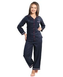 Piu Front Open Navy Blue Sleepwear - Blue