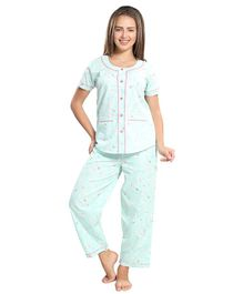 Piu Front Open Rabbit Print Sleepwear - Green