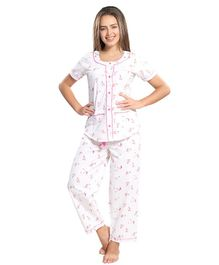 Piu Front Open Flamingo Print Sleepwear - White