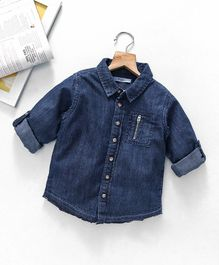 Fox Baby Full Sleeves Solid Shirt - Blue