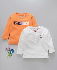 Gini & Jony Full Sleeves Tee Pack of 2 - Orange & White