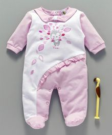 Cucumber Full Sleeves Footed Sleepsuit Frill Design - Light Pink