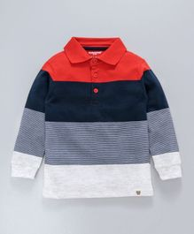 Cucumber Full Sleeves Striped Tee - Blue Red