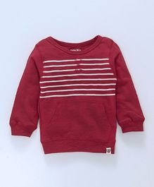 Cucumber Full Sleeves Winter Wear Striped Tee With Pocket - Red