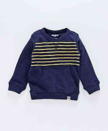 Cucumber Full Sleeves Winter Wear Striped Tee With Pocket - Navy