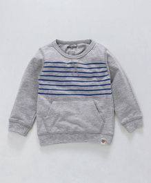Cucumber Full Sleeves Winter Wear Striped Tee With Pocket - Grey