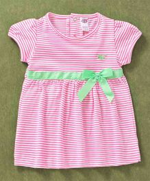 Zero Short Sleeves Striped Frock Bow Detail - Rose Pink
