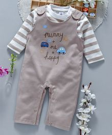 ToffyHouse Dungaree Romper With Striped Inner Tee Happy Print - Fawn
