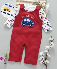 ToffyHouse Dungaree Romper With Inner Tee Car Patch - Red