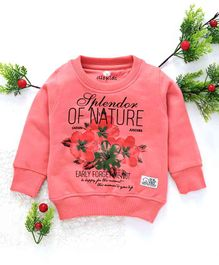 Olio Kids Winter Wear Full Sleeves Tee Splendor & Floral Print - Pink