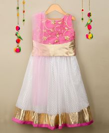 Many Frocks & Sequin Embroidered Choli & Lehenga with Dupatta - White & Pink