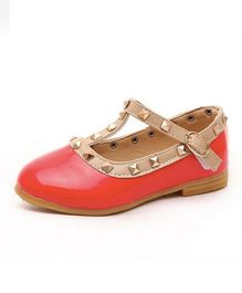 Wonderland Stud Design Ballerinas - Red