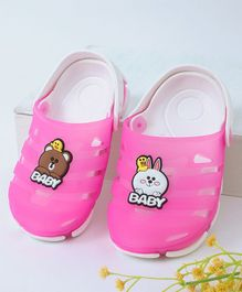 Kidlingss Bear & Bunny Applique Clogs - Dark Pink
