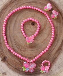 Babyhug Pearl With Flower Applique Jewellery Set Pink - Set of 4