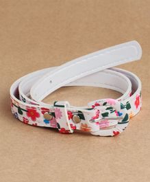 Babyhug Belt With Buckle Closure Flower Print - White