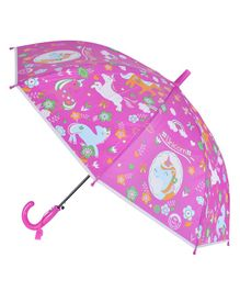 Smartcraft Unicorn Print Kids Umbrella - Dark Pink