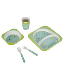 SmartCraft Bamboo Dinner Set Hippo Design Blue Green - Pack of 5