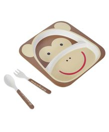 SmartCraft Bamboo Dinner Set Monkey Design Brown - Pack of 3