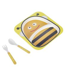 SmartCraft Bamboo Dinner Set Bee Design Yellow Black - Pack of 3