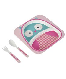 SmartCraft Bamboo Dinner Set Owl Design Pink Blue - Pack of 3