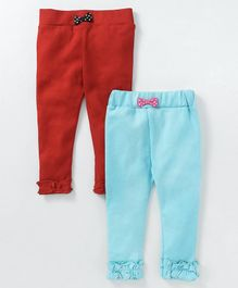 Mom's Love Full Length Leggings Pack of 2 - Red & Blue