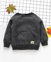 Yiyi Garden Solid Full Sleeves Sweatshirt - Grey