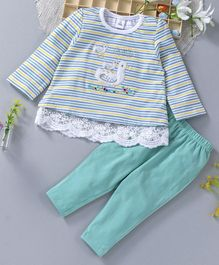 ToffyHouse Full Sleeves Striped Top & Bottom Duck Patch - Green Yellow
