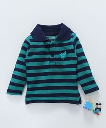 Cucumber Full Sleeves Striped Tee - Green