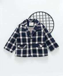 Kookie Kids Checks Full Sleeves Blazer - Blue