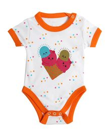 Morisons Baby Dreams Half Sleeves Onesie Ice Cream Print - Orange White