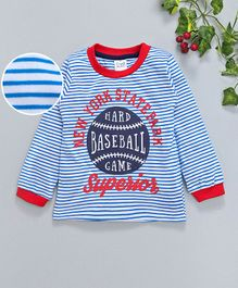 Simply Full Sleeves Striped Tee Baseball Print - Red & Blue