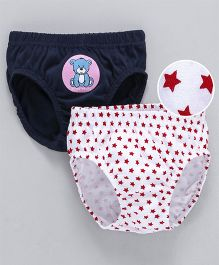 Babyhug Briefs Teddy And Stars Print Pack of 2 - Navy & White