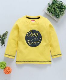 Babyhug Full Sleeves Cotton T-Shirt One Of Kind Print - Yellow