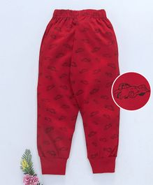 Fido Full Length Lounge Pant Cars Print - Red